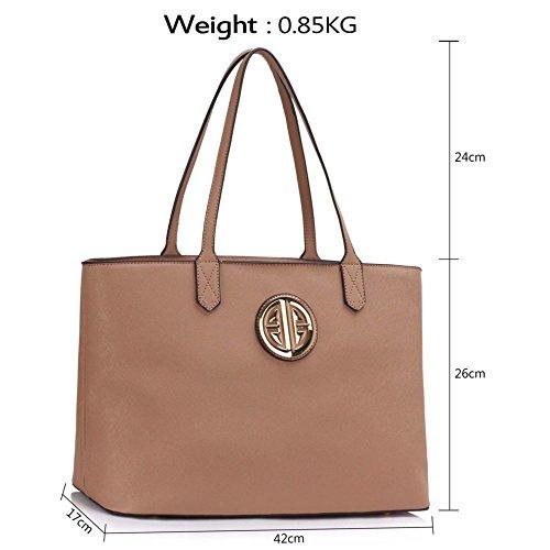 LeahWard® Übermaß Schultertaschen Zum Damennett Damen Einkaufstasche Handtaschen A4 407 423 Schultertasche-nackt/Rosa