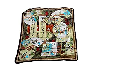 S90-19-High Quality Silky Satin Square Scarf with Oriental Design-Ancient Chinese Country Life Scene-brown