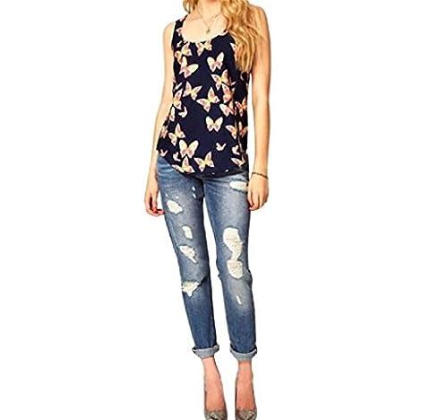 Summer Women Blouse, Yannerr 1PC Women Butterfly Print Sleeveless Chiffon Tank Fashion Crew Vest (L)
