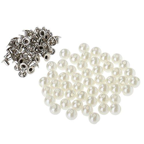 Homyl 50er Set Perlen Mit Nieten Ziernieten DIY für Leder Kleidung Tasche Schuhe Dekoration - wie bild, 8mm (Perlen-leder Tasche)