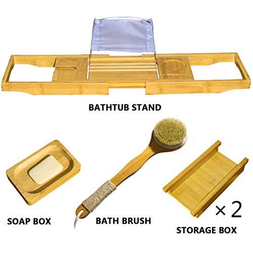 Preisvergleich Produktbild KPPO Badewannenregal erweiterbar Badewanne Caddy mit Weinglashalter und Ipad-Halter / Telefonhalter / Buchablage usw. Perfekt zum Entspannen,  während die meisten Badewannen passen.