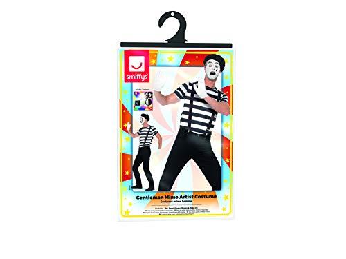 015cb66294 SMIFFYS Costume Artista mimo da uomo, Nero, con top, basco, guanti,  bretelle e trucco. Visualizza le immagini