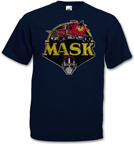 MASK VINTAGE LOGO T-SHIRT - Cartoon Kult TV Series Retro 80s Mask T-Shirt Größen S - 5XL (XXXXL) (Cartoon-logo-shirt)
