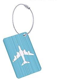 Fancylande Etiquette Bagage,5 Pièce Mix Couleurs Bagages Étiquettes en Alliage D'aluminium avec Cordes en Acier Inoxydable, Étiquettes Valise, Accessoires Voyage