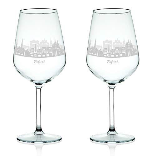 Leonardo Weinglas mit Gravur - Skyline Erfurt im Set - Geschenk für Anspruchsvolle & Weingenießer - Souvenir Andenken Stadt Mitbringsel - Geburtstagsgeschenk Weihnachtsgeschenk^