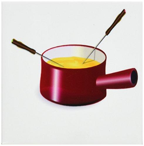 Florene Retro–Retro Fondue-Topf mit Käse–Untersetzer, keramik, set-of-4-Ceramic