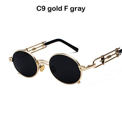Li Kun Peng Männer Metall Oval Frame Steampunk Gothic Vampire Sonnenbrille Einzigartige Retro Sonnenbrille Cosplay Styling Sonnenbrille,C9Black~Gray