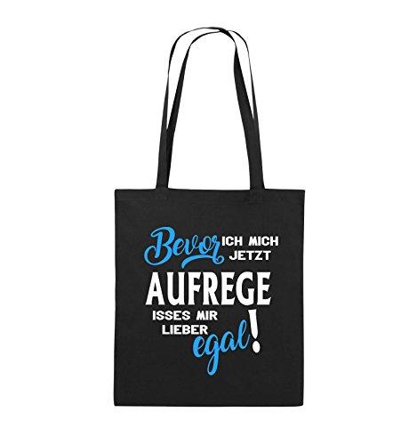 Comedy Bags - Bevor ich mich jetzt aufrege isses mir lieber egal! - Jutebeutel - lange Henkel - 38x42cm - Farbe: Schwarz / Weiss-Neongrün Schwarz / Weiss-Hellblau