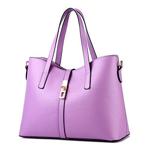 Koson-Man da donna, in pelle sintetica, stile Vintage, con cerniera, tracolla per piccola borsa Tote Bags maniglia superiore, viola (Viola) - KMUKHB144