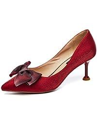 fc3487fd Tacones Finos de Las Mujeres Tacones Ante Corte Zapatos Mariposa Nudo Solo  Zapatos Slip on Bombas