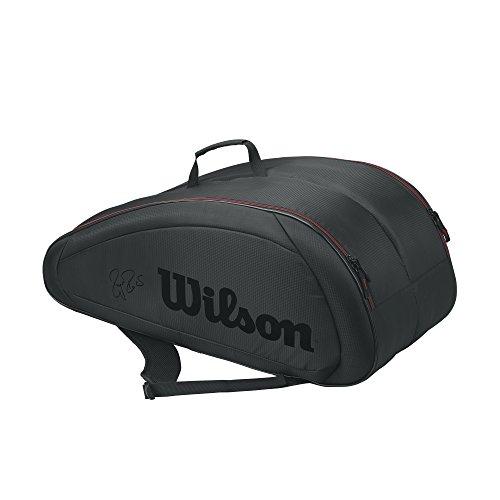 Wilson Fed Team 12Pack Bag Tennistasche, Unisex Erwachsene, schwarz/rot (Black/Red), Einheitsgröße