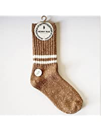 GRHY Montón montón de calcetines de algodón Otoño e Invierno Tubo College Wind engrosada Bar dos calcetines de lana,un tamaño, camello rojo