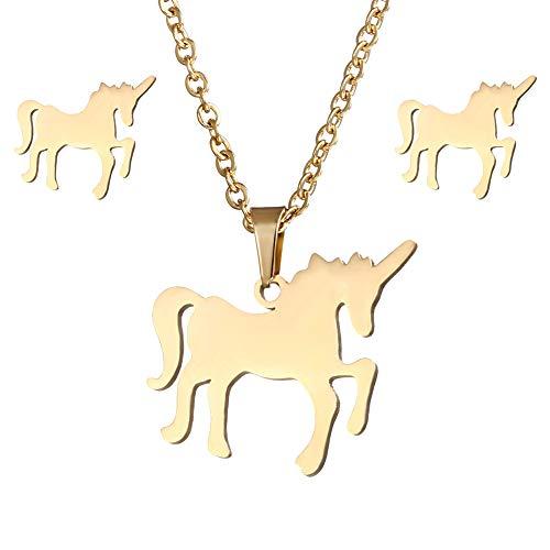 BIGBOBA Elegante Set Collana Orecchini Forma Unicorno Ciondolo clavicola Collana di Oro Gioielli per Donna