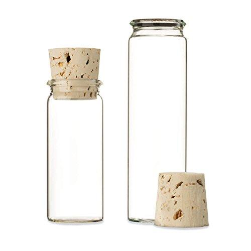 25x Reagenzgläschen aus Laborglas mit Natur-Korken | Rollrand ✓ Glasfläschchen für Gastgeschenke ✓ (20ml - 50 x Ø 30mm)
