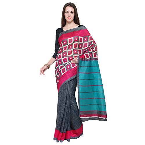 Oomph! Women's Art Silk Saree with Blouse Piece (rbks_Slate Grey & Magenta...