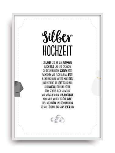 RHOCHZEIT Kunstdruck 25. Hochzeitstag Silber Brautpaar Bild ohne Rahmen DIN A4 ()