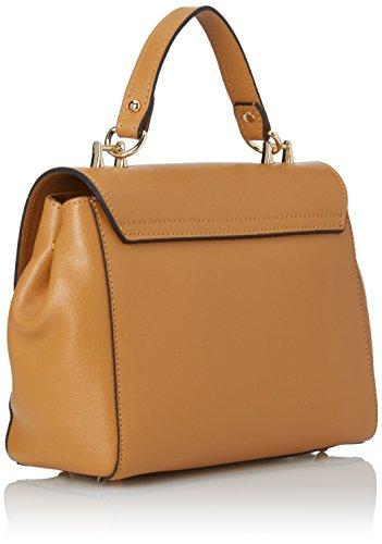 CTM Pochette à main pour femme modele Saffiano, ceinture d'epaule dans l'interieur reglable, en cuir veritable fait en Italie - 29x20x9 Cm Orange (Cuoio)