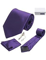 Coffret Cadeau Séville - Cravate violette, boutons de manchette, pince à cravate, pochette de costume