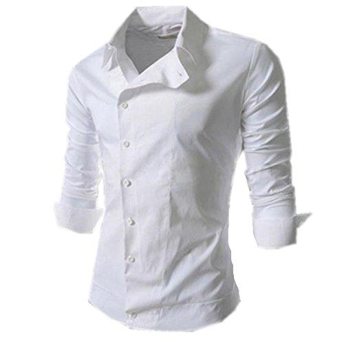 SHUNLIU Hemd Herren Freizeit Langarmhemd Slim Fit Persönlichkeit Schräg Schnalle Langarmhemd Weiß