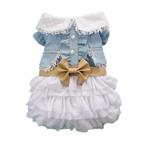Mode niedlichen Hund Hochzeit Kleid Rock Sommer Luxus Prinzessin Haustier Kleidung Denim Rock Hundegeschirr Kleid Haustier Kleidung - Blue & White - S -