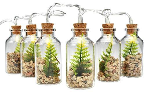 Com-four® 6X Botellas Vidrio Decorativas LED Plantas