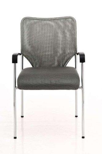 CLP Konferenzstuhl CUBA mit Stoffbezug und hochwertigem Sitzpolster | Besucherstuhl mit Armlehne und Metallgestell Grau - 3