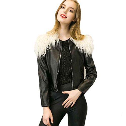 Damen Herbst Slim Bikerjacke, Keepwin 2017 Winter Falsch Leder Fur Zippers Jacke Mode Mädchen Mantel Beiläufige Outwear Tops Blusen (S, Beige)