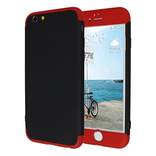 iPhone 6S Plus Hartschale, iPhone 6 Plus Hartschale, iPhone 6S Plus Full Body Case, iPhone 6 Plus 3 in 1 Hülle, Moon mood® 3 in 1 Anti-Fingerprint Kratzfeste Kunststoff Harte Rückseite Case Bumper Sch T Rot und Schwarz
