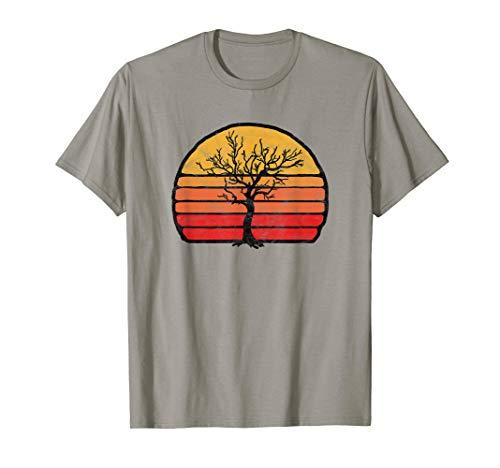 Retro Sun Minimalist Dead Tree Design Graphic  T-Shirt - Tree Hugger Gelben T-shirt