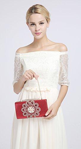 KAXIDY Pochette da Cerimonia Borse a Tracolla Borse Eleganti Pochette da Giorno Rosa-rosso