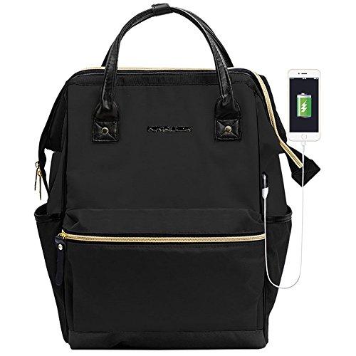 KROSER Laptop Rucksack 15,6 Zoll(39,6cm) Schultasche Daypack Tagesrucksack Wasserabweisend Nylon Laptop Gepäck Tablet mit USB-Ladeanschluss für College/Reisen / Frauen/Männer-Schwarz