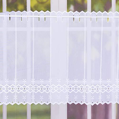 SCHÖNER LEBEN. Bistrogardine Scheibengardine Stickerei Raute Blumen Meterware weiß 30cm Höhe