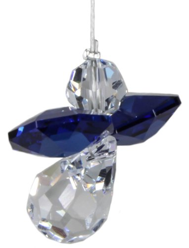 Kristallfigur Pendel Anhänger in Engelform mit SWAROVSKI® ELEMENTS - Umgangssprachlich: Schutzengel (Dark Sapphire) -
