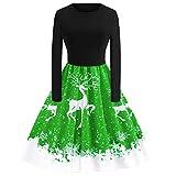 Weihnachten Partykleider Damen Elegant Riou Weihnachts Kleid Langarm Knielang Retro A Linie Abendkleid Cocktailkleid Schön Mini Swing-Kleid (S, Grün B)