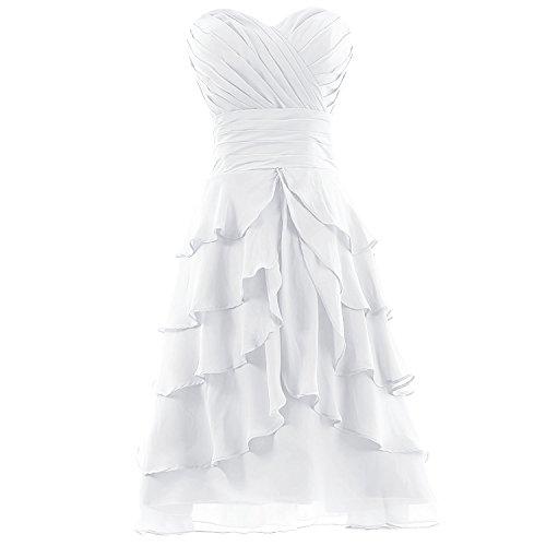 Dresstells Kurze Chiffon Ballkleider Brautjungfernkleider Cocktailkleider Abendkleider für Jugend unter 100 Elfenbein
