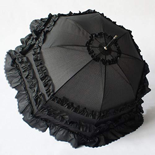 e-Regenschirm, Compact-Spitze-Hochzeit Sonnenschirm, Winddicht, regendicht, Anti-UV-Prinzessin Regenschirm-D ()