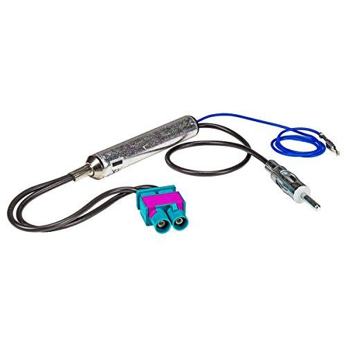 tomzz Audio 1503-007 Doppel Fakra Antennenadapter mit Phantomeinspeisung für Audi Seat Skoda VW Citroen Peugeot Opel auf DIN