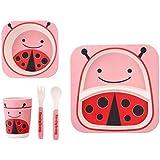 EZ Life 5 Pcs Kids Dining Set - Ladybird - Eco Friendly Bamboo Fibre - Pink And Red