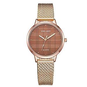 Hffan Damen Retro-Check Einfach Armbanduhren für Frauen Freizeituhr Plaid Quarzuhr Beobachten Tabelle Handschmuck Armband Uhren Damenuhr Uhr Lederband