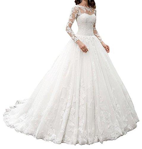 4457f421412f23 Nanger Damen Spitze Hochzeitskleider mit Lang Ärmel Brautkleider A Linie  Prinzessin Weiß 38
