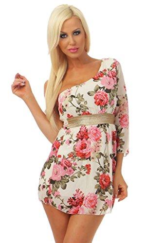 Fashion4Young 5165 Damen Minikleid Kleid One Shoulder Chiffon Blumen Party Sommerkleid (weiß, 34-36) -