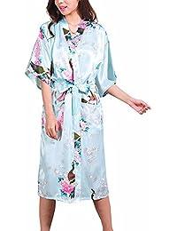 FY Mujeres Señoras Kimono Robe Albornoz Larga Bata de Baño Bathrobe Vestido Seda De Imitación Ropa de Dormir Sleepwear Camisones Novia Dama Spa Danza Fiesta de Bodas Hotel