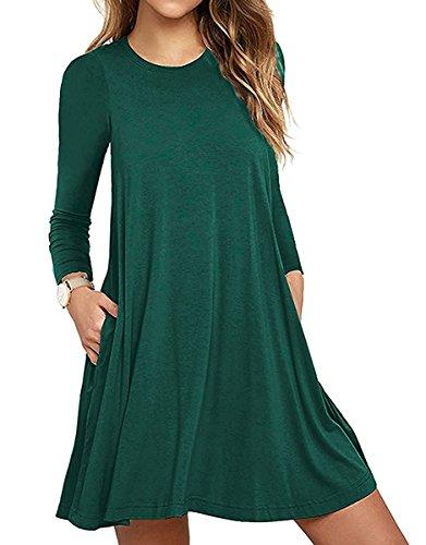 Damen Casual Sommerkleid Lose T-Shirt Kleid Nachthemden knielang Strandkleid Nachtkleid A-Linie Kleider (XXL, Langarm Grün) (Kleid T-shirt Europäische)