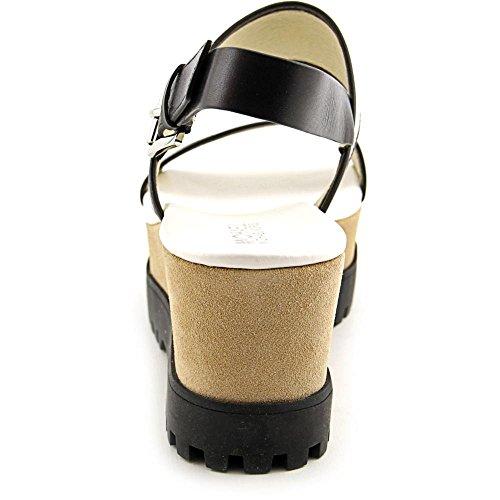 Michael Michael Kors Gillian Mid Wedge Toile Sandales Compensés Optic Wht-Blk
