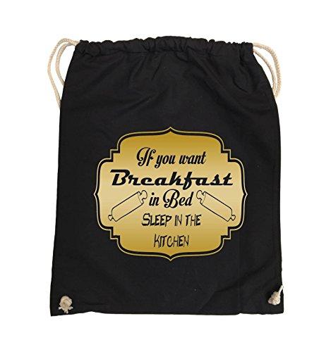 Comedy Bags - If you want Breakfast in Bed - KITCHEN - Turnbeutel - 37x46cm - Farbe: Schwarz / Pink Schwarz / Gold