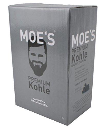MOE'S Shisha ® Home Kohle 3 kg - Premium Shisha Kohle - Naturkohle Briketts aus Kokosnussschalen