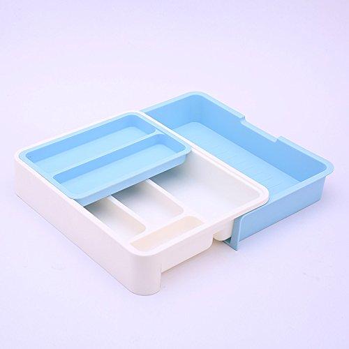 Organisateur/diviseurs tiroir extensible pour couverts, vaisselle séparant fort Tri Rangement tiroirs contenant fort,Bleu Ciel