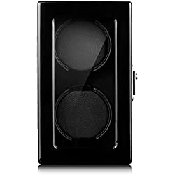 Excelvan® Automatic Double Watch Winder Vertical Dual Watch Winder Luxury Handmade Watch Winder Piano Finish Watch Winder Box, Black Wood Watch Display Box Case Automatic 2 Watch Winder Rotator