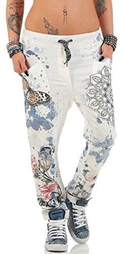 ZARMEXX Damen Baggy Hose Boyfriend Freizeithose Haremshose Sporthose mit Butterfly-Print Baumwolle One Size Blau