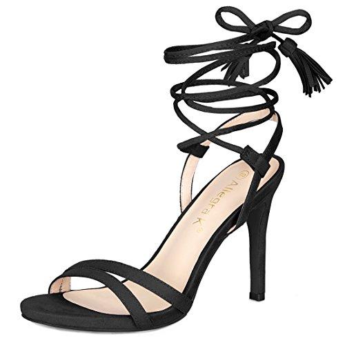 Allegra K Damen Stöckelschuh Hoher Absatz Quaste Schnüren Sandalen Sandalette Schwarz 38 EU/Label Size 7 US